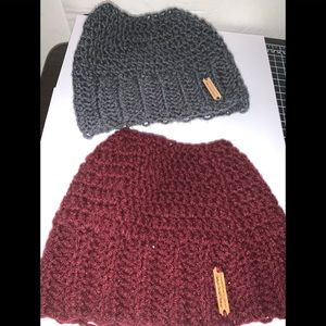 Hand Crocheted Messy Bun/PonyTail Beanies Lot Of 2